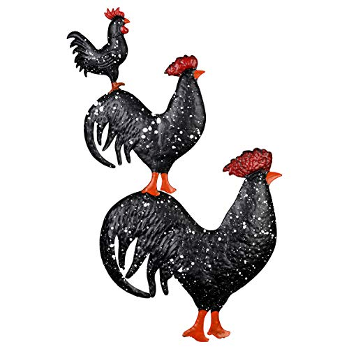 3 Piece Stake - Exhart Stacked Black Roosters Metal Garden Stake - 3-Piece Stacked Roosters in Black UV-Treated Metal Design - Hand-painted Stake Set, Charming Yard Art Decor for Farm Yard, and Garden, 16 x 29 Inches