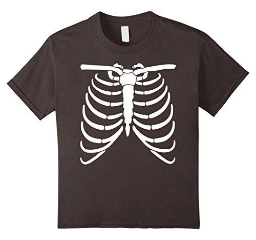 Cheerleader Jock Costume - Kids Funny Halloween Skeleton Ribs Costume Tshirt - For Halloween 12 Asphalt