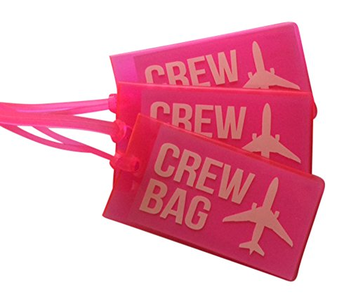 Airline Luggage Tags for Crews, Vinyl Luggage Tags, Set Of Three, Pink