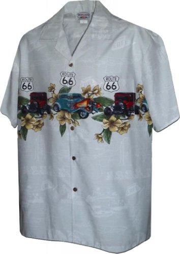 (Hawaiian Aloha Shirt Nostalgic Route 66 White (Made in Hawaii))