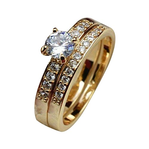 FEDULK Men Women Betrothal Rings Couples Jewelery Rhinestone Statement Engagement Enhancers Promise Rings(Gold-Women, 10)