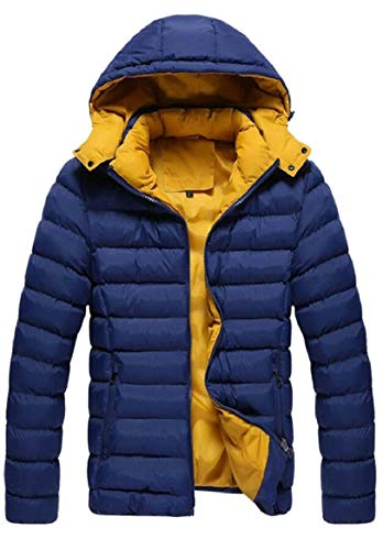 Cotton Down Blue Men's Hooded Coat Padded Dark Jacket Quilted security Warm t7pYSqwS