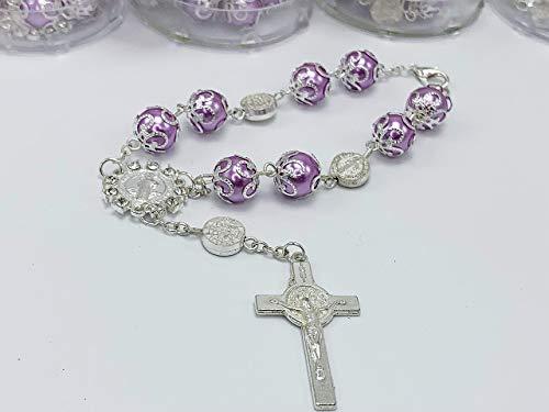24 Lilac Color Baptism Favors Communion Favors Bracelets or Rear View Mirror Charms/Purple Pearls Baptism Favors Silver Plated/Christening Favors/recuerdos de Bautizo color Morado Lila con Plata