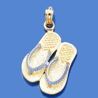 Gold Nautical Charm Pendant Large Double Flip-flop (white Textured Straps) Large Flip Flop Charm