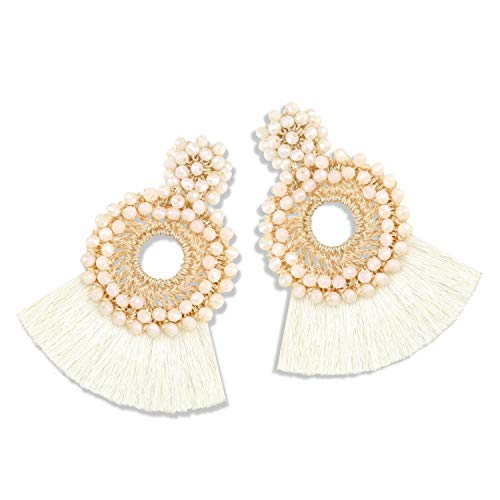 - Statement Tassel Bead Earrings for Women, Drop Dangle Round Beaded Hoop Fringe Bohemian Earrings Women Girl Novelty Fashion Summer Accessories - E4 Cream White