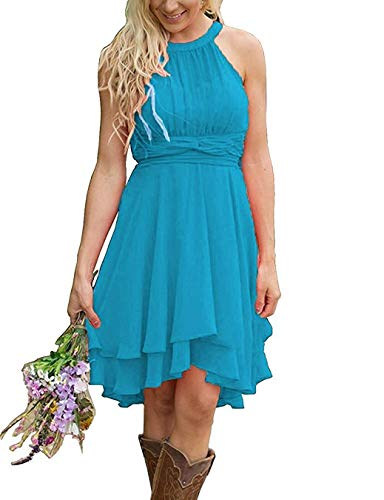 Erosebridal Short Bridesmaid Dresses Chiffon Halter Prom Dress Country Wedding Dress Ocean Blue ()