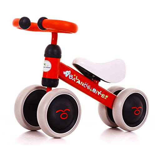 BLUE ISLAND Baby Balance Bikes Scooter Toddler Walker Infant Scooter No Foot Pedal Driving Bike Gift for Child Four Wheels First Bike - Boys Girls (Red and Black)