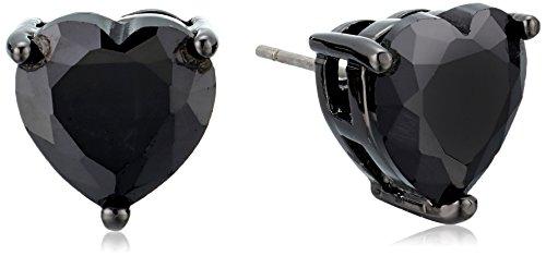 Betsey Johnson Hematite and Black Cubic Zirconia Heart Stud Earrings Black Heart Earrings
