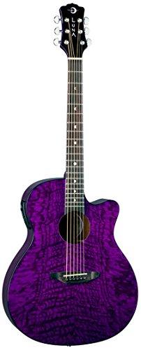 Luna Gypsy Quilt Top Acoustic/Electric Guitar, Trans Purple