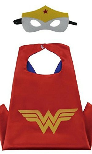 Honey Badger Brands Dress Up Comics Cartoon Superhero Costume with Satin Cape and Matching Felt Mask, Wonder Woman