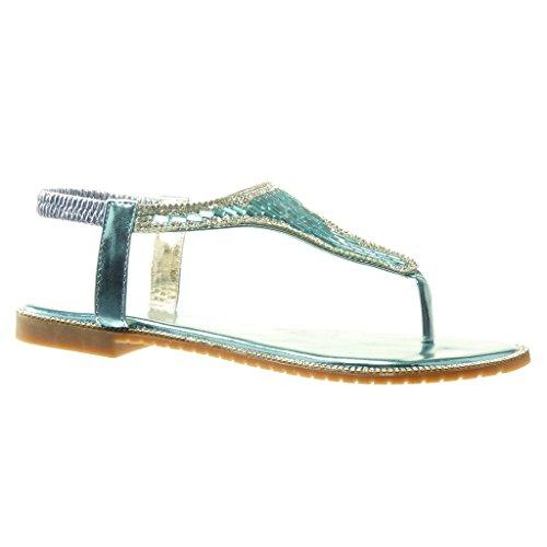 Angkorly - damen Schuhe Sandalen Flip-Flops - T-Spange - Schmuck - Strass Blockabsatz 1 CM - Blau