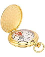 Dioche Brújula Plegable, Estilo de Reloj de Bolsillo de Latón Portátil Brújula Anillo Llavero Acampar Al Aire Libre Senderismo