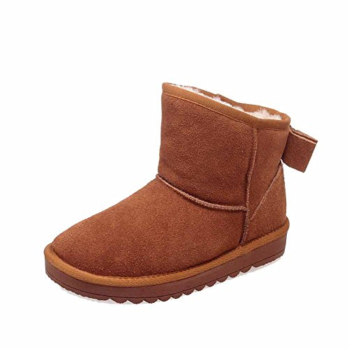 Solid Round Camel Closed Toe Boots Pull Women's Heels WeenFashion Low Frosted on Snow R7nARtqpw