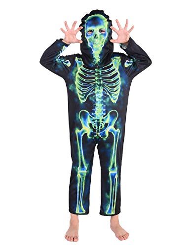 Ghosts Halloween Costumes (Familus Ghost Skeleton Halloween Costume with Mask for Kids Boys and Girls)