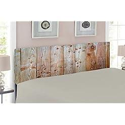 Bedroom Lunarable Rustic Headboard, Monochrome Wood Design Minimalist Rough Rustic Tiled Logs Row Plank Surface Texture Image… farmhouse headboards