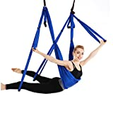 Ranbo aerial yoga trapeze set Ultra Strong Antigravity Yoga Swing / Hammock Holds Up to 400 Pounds for Inversion Exercises Pilate Fitness Flexibility Core Strength Weight Loss (Dark blue) Review