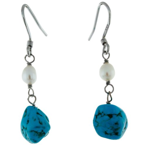 Sterling Silver Potatoe Freshwater Cultured Pearl and Free-form Turquoise Frenchwire Earrings