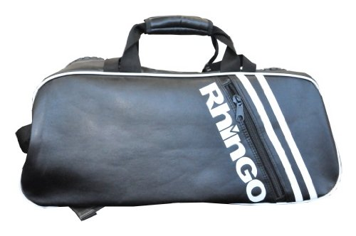 Rhingo Black Leather Big Zipper Duffel Gym Bag Backpack