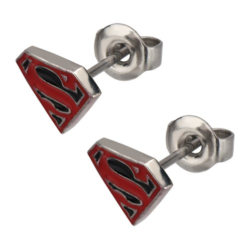 Stainless Steel Post with Red and Black Epoxy Superman Logo Stud Diamond Shape - Earrings Justice