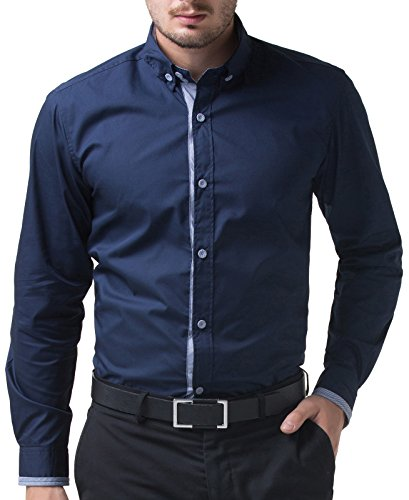 Paul jones mens casual slim fit fashion wrinkle free dress for Wrinkle free dress shirts amazon