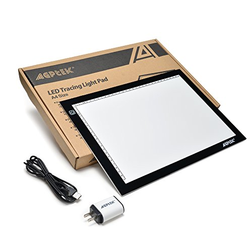 AGPtek New A4 LED Artcraft Tracing Light Pad Extra Large Active Area Ultra-Thin Stepless Brightness Control Tatoo Pad Animation, Sketching, Designing, X-ray Viewing W/USB Adapter (PSE Approval)