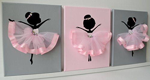 Ballerina nursery wall art. Pink and grey ballerina - Decor Room Ballerina