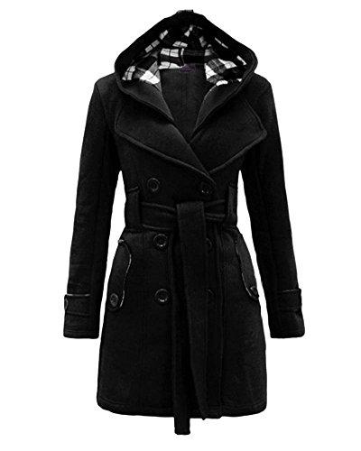 DianShao Femme Trench Coat Chaud Double Boutonnage Manteau Chaud Manche Longue Outwear Noir
