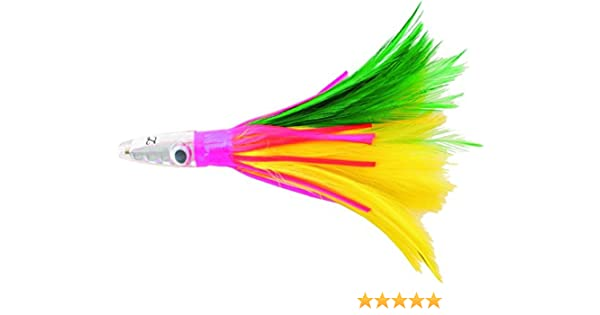 1 ounce Mylar Squid fishing Jig Green//Yellow