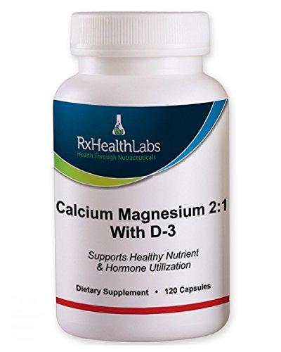 Rx Здоровье Labs магния и кальция 2: 1 Вт / витамин D3 и бора - 120 Капсулы поддерживает здоровье системы опорно-двигательного аппарата и нервной