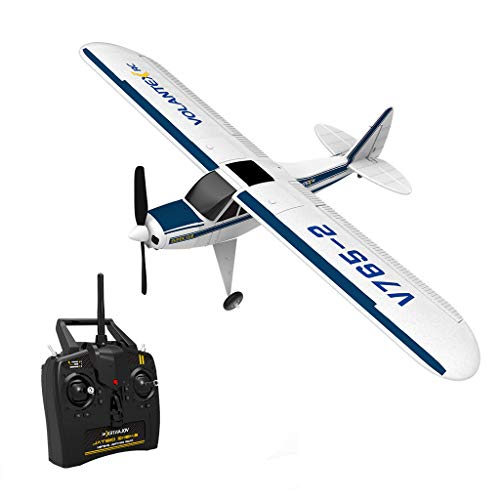 V765-2 Remote Control Airplane, 2.4GHz 4 Channel RC Airplane Aircraft Built in 6-Axis Gyro System Super Easy to Fly RTF, EPO RC Airplane for Beginners, White