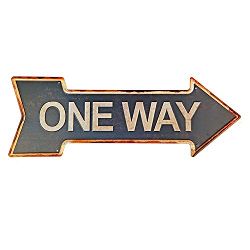 New Deco One Way Metal Tin Sign With Rustic Retro Arrow Decorative Sings For Cafe Pub 16.9x6 inches