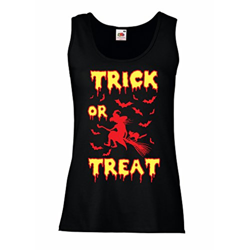 lepni.me Sleeveless t Shirts for Women Trick or Treat - Halloween Witch - Party outfites - Scary Costume (XX-Large Black Multi Color) ()