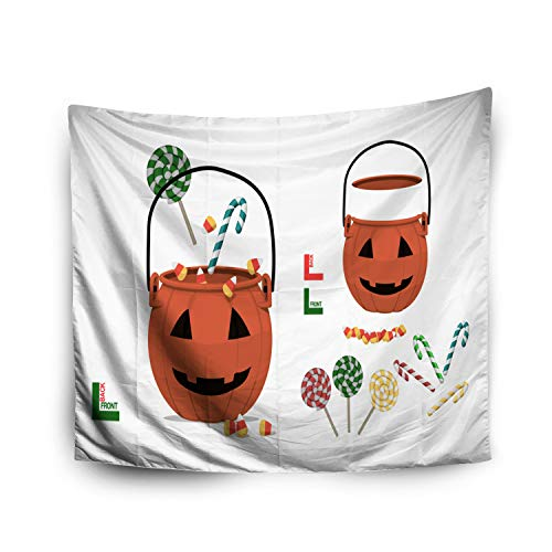 Hanging Wall Tapestry,Jacrane Art Tapestries With 80X60 Inches Halloween Pumpkin Basket Candy Transparent Background Easy To Create Your Compositiby Yourself For Dorm Bedroom Living Home Decor]()