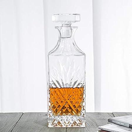 Whiskey /& Wine Handmade Glass Carafe Weddings Best for Alcohol Christmas /& Birthdays Anniversary Great Gifts for Wine Lovers Momstir Crystal Irish Diamond Cut Rectangle Decanter Bourbon