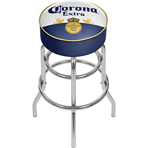 Corona Extra Chrome Padded Bar Stool With Swivel   Label Design   By Corona