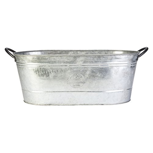 "16"" Oval Washtub Planter, Aged Galvanized Finish for sale  Delivered anywhere in USA"