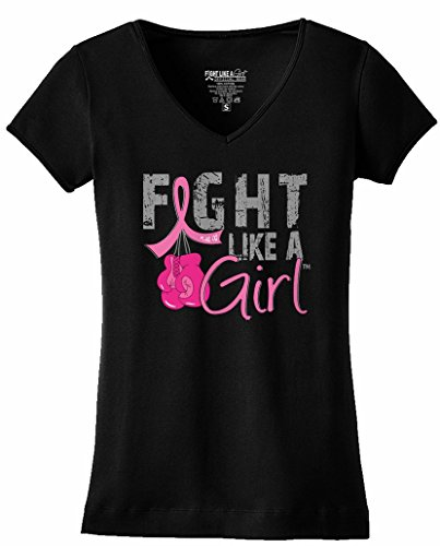 Fight Like a Girl Breast Cancer Boxing Gloves T-Shirt Ladies V-Neck Black w/Pink Ribbon [L]