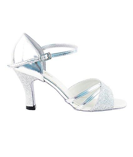 Very Fine Ballroom Latin Tango Salsa Dance Shoes for Women 6030 2.5 Heel + Foldable Shoe Brush Bundle Silver Stardust-silver K6uDZ2Qr