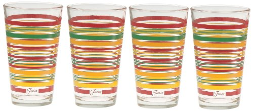 CULVER Fiesta Tangerine Stripe 16-Ounce Tapered Cooler Glass (Set of 4) - 188-032 ()