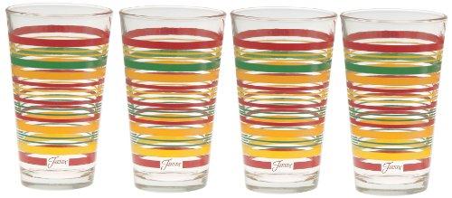 Fiesta Tangerine Stripe 16-Ounce Tapered Cooler Glass (Set of 4) (4 Cooler Glasses)