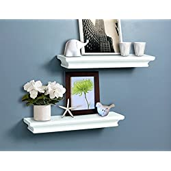 AHDECOR Floating Shelves Ledge Shelf White (4 Inches Deep, Set of 2 pcs)