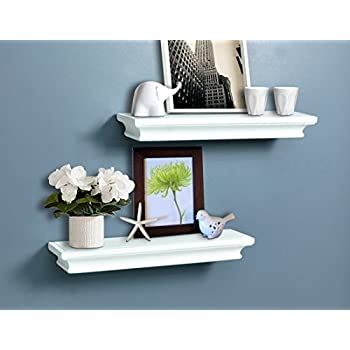 Groovy Ahdecor White Floating Shelves Ledge Wall Shelf For Small Display Items With 4 Deep 2 Pack Interior Design Ideas Gentotryabchikinfo