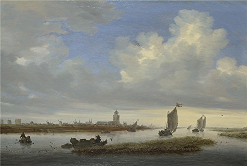 Bead Lamp Deep Drape - The Polyster Canvas Of Oil Painting 'Salomon Van Ruysdael A View Of Deventer Seen From The North West ' ,size: 18 X 27 Inch / 46 X 68 Cm ,this Amazing Art Decorative Prints On Canvas Is Fit For Study Gallery Art And Home Decor And Gifts
