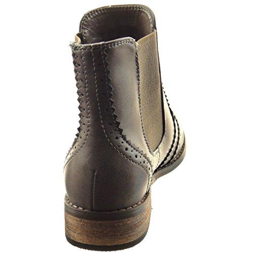Sopily - Chaussure Mode Bottine Chelsea Boots Montante femmes Perforée Talon bloc 3 CM - Gris