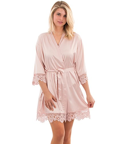 VEAMI Jasmine Lace Bridesmaid Robe, Short Robe with a Gold Graphic- Pale Blush- Small