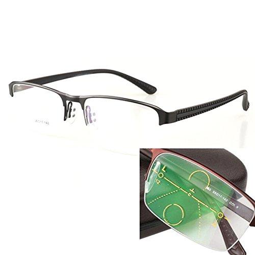 Quality Men's Rectangular Multifocus Glasses 3 Powers in 1 Reader (Black, +2.5)