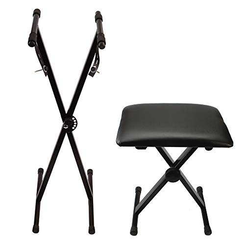 Kuyal Single X Keyboard Stand and Adjustable Padded Piano Keyboard Bench Package(Single X)