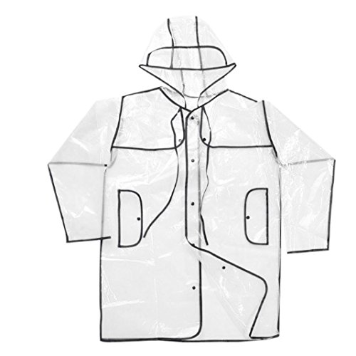Price comparison product image Dreamyth Men And Women Outdoor Special EVA Soft Transparent Fashion Raincoat Cloak (Black)