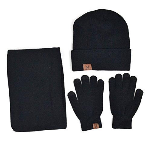 Xianheng Hat Scarf Gloves Touch Screen 3 Pieces Winter Knitted Set Men Women #2