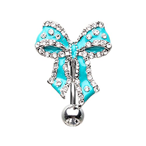 Inspiration Dezigns 14G Bow Tie Ribbon Drop Top Down Belly Button Navel Ring